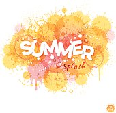 Summer watercolor background with water drops,splatters and textures in yellow and orange tones.EPS 10 file contains transparencies.File is layered with global colors.Gradients and drop shadow used.Hi res jpeg without text included.More works like this linked below.http://www.myimagelinks.com/Lightboxes/summer_files/shapeimage_2.png