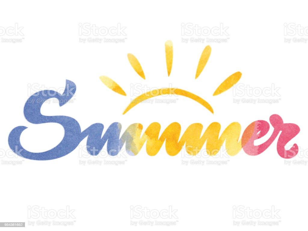 Summer watercolor typography vector art illustration
