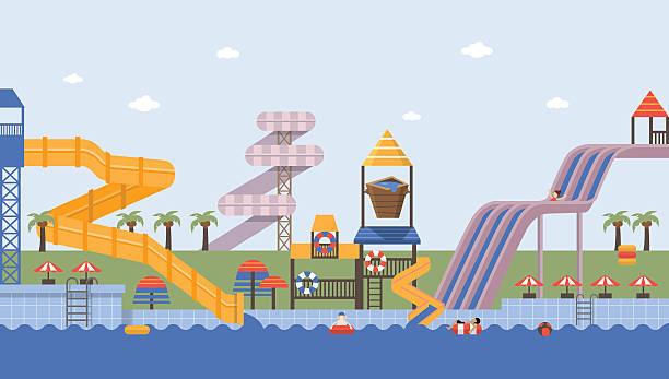summer waterpark - children play water park stock illustrations, clip art, cartoons, & icons