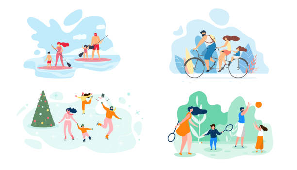 summer weekend on river whole family vector flat - family trips stock illustrations