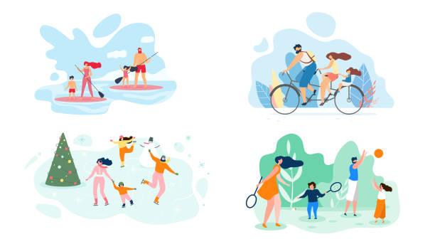illustrations, cliparts, dessins animés et icônes de week-end d'été sur la rivière toute la famille vecteur plat - vacances en famille