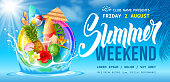 Advertising flyer template for summer weekend party near the pool or seacoast. Swim ring, tropical leaves, flowers, fruits and exotic cocktail. Blue sky and clouds on background. Vector illustration.
