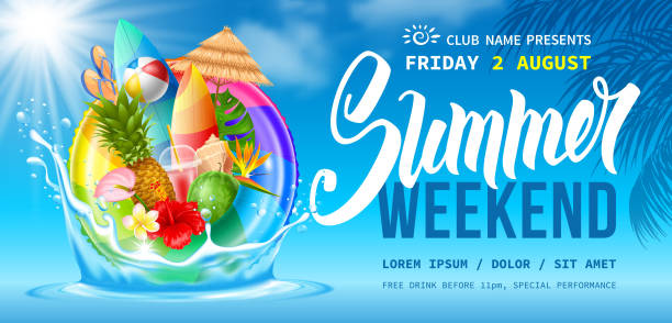 Summer Weekend Party Flyer Template Advertising flyer template for summer weekend party near the pool or seacoast. Swim ring, tropical leaves, flowers, fruits and exotic cocktail. Blue sky and clouds on background. Vector illustration. pool party stock illustrations