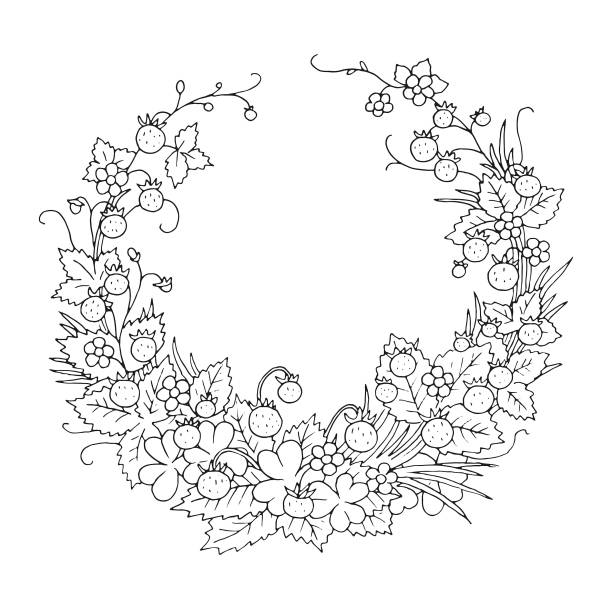 Summer wild strawberry floral nostalgic elegant romantic old fashioned wreath contour coloring page vector art illustration