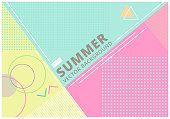 summer with retro style texture pastel color, pattern and geometric elements. Abstract design card perfect for prints, flyers,banners,invitations, Vector Illustration