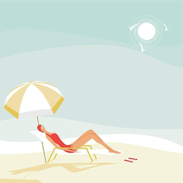 Summer woman on the beach vector art illustration