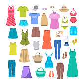 Women clothes and accessories collection for summer vacation. Seasonal female outfit flat vector icons. Casual fashion infographic elements. Beach clothes, footwear, bag, swimsuit, hat, sunglasses