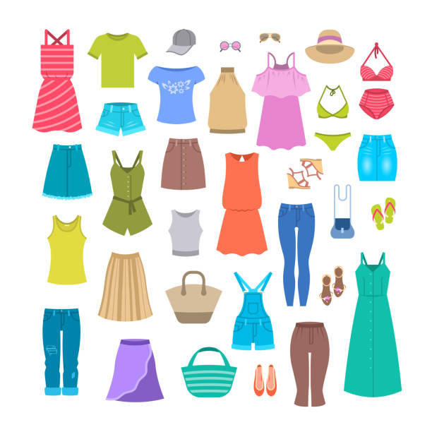 Summer women casual clothes and accessories Women clothes and accessories collection for summer vacation. Seasonal female outfit flat vector icons. Casual fashion infographic elements. Beach clothes, footwear, bag, swimsuit, hat, sunglasses clothing stock illustrations