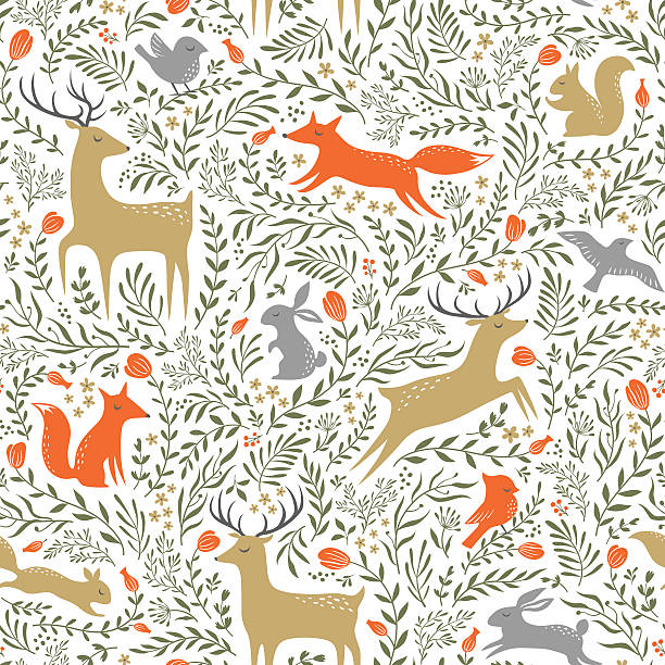 Summer woodland pattern Seamless summer floral pattern with wild animals vertebrate stock illustrations