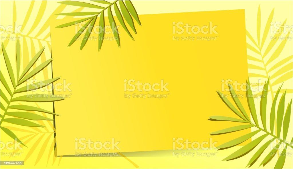 夏天黃色背景與棕櫚葉子 - 免版稅夏天圖庫向量圖形