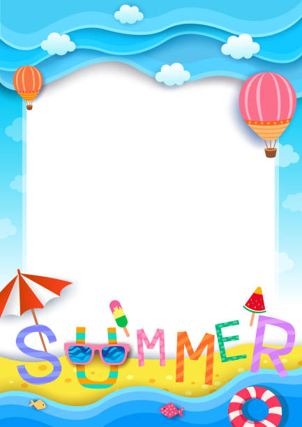 summer-background Illustration vector of summer typography  design with beach background to paper art style beach borders stock illustrations