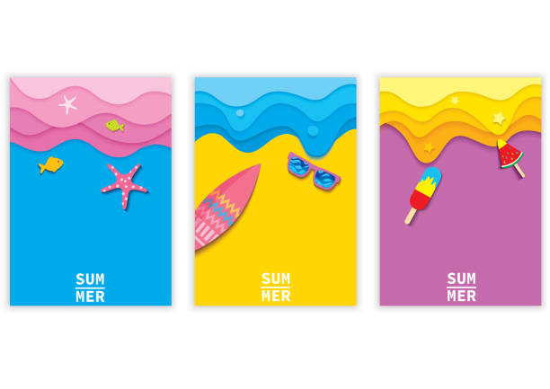 여름 배경 세트 - beach stock illustrations