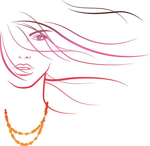 Summerbreeze in her Hair vector art illustration