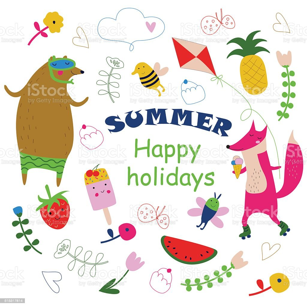 summerhappyholidays vector art illustration