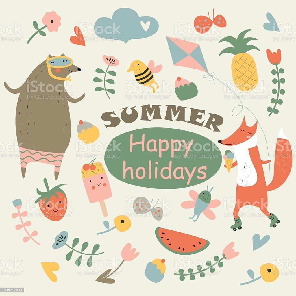 summerhappyholidayspopcolor vector art illustration