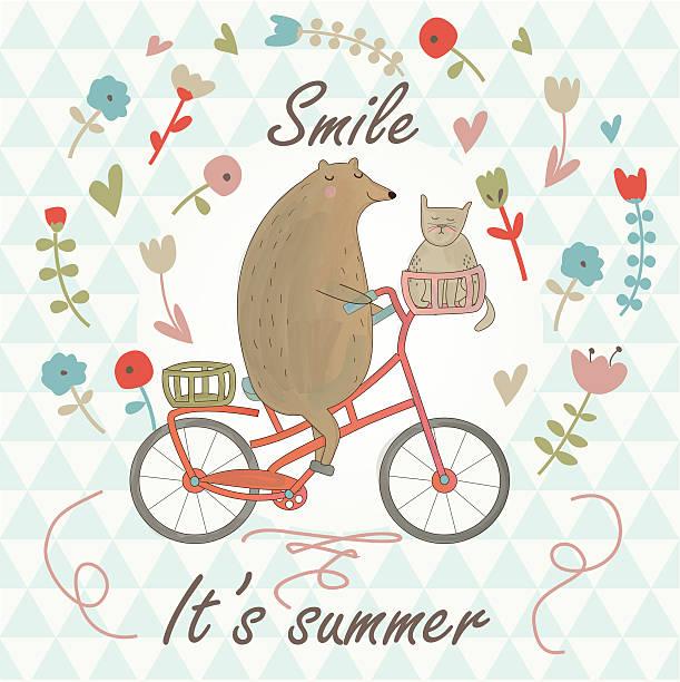 summersmile - lustige fahrrad stock-grafiken, -clipart, -cartoons und -symbole