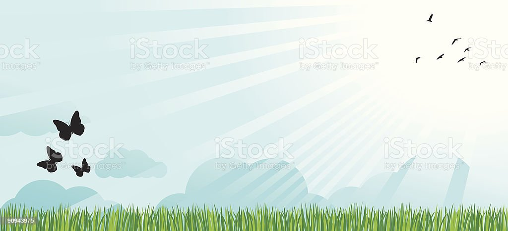 summer,spring green nature view with shining sun, blue sky royalty-free summerspring green nature view with shining sun blue sky stock vector art & more images of back lit