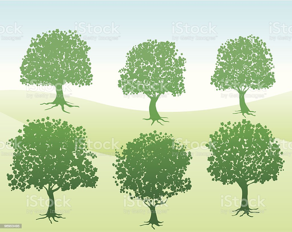 summer,spring green nature view with trees silhouette illustration royalty-free summerspring green nature view with trees silhouette illustration stock vector art & more images of back lit