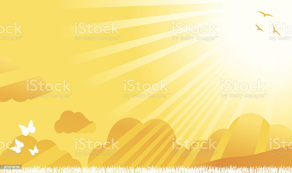 summer,spring nature view with butterfly,birds, shining sun illustration royalty-free stock vector art