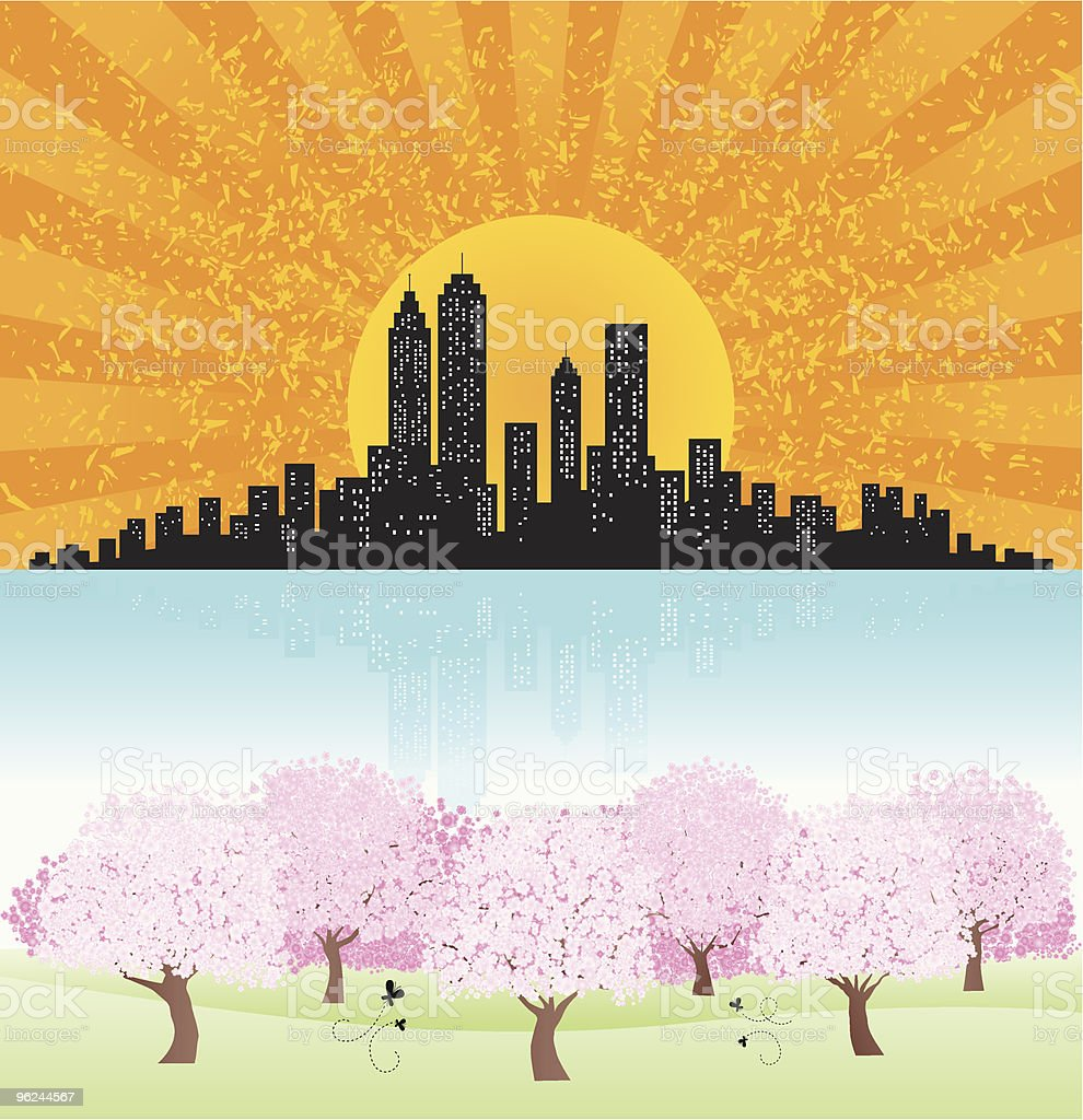 summer,spring,city Skyline and Park with shining sun, pond royalty-free stock vector art