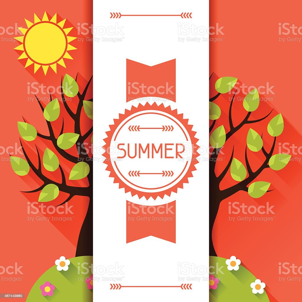 Summer-themed graphic in 2D Orange and green colors vector art illustration