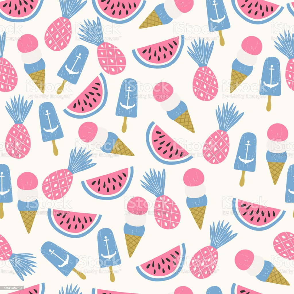 Seamless Ice Cream Wallpaper Royalty Free Stock Images: Summertime Background Ice Cream Watermelone And Pineapple