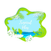 Summertime background with tropical leaves and sea. Tropical vibes. Paper cut layer and craft style vector illustration. Place for text. Template for party invitation, flyer, poster, banner.