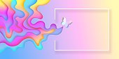 Summer spring bright rainbow layered banner with a butterfly and train of flowing gradient forms with space for advertising text, top view, vector illustration