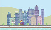 Summertime Cityscape with Boardwalk.