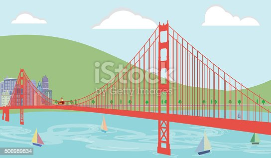 Summertime Cityscape setting with Sailboats and featuring a large red suspension bridge. Vector illustration contains burger and fries restaurant, hotel, clock tower, water waves, fluffy clouds, highrise buildings, trees, roadway, rolling green hill, and a quaint port city vibe. The sailboats in the foreground affect a fun and relaxing environment.