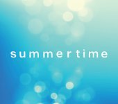 """This vector illustration features word """"summertime"""" with blurry retro-styled bokeh imagery. It is a combination of circle patterns incorporating bright colors, including vibrant blues and whites. The image invokes relaxation, calmness and bliss. The use of reflection and color portrays a sense of sky and day time. The image uses blur to establish depth perspective and transition between colors. Most of the circles are clustered top and bottom side of the image. Center is light blue tone. The image has a bright colorful tone. Image includes a standard license along with the option of upgradeable extended license."""