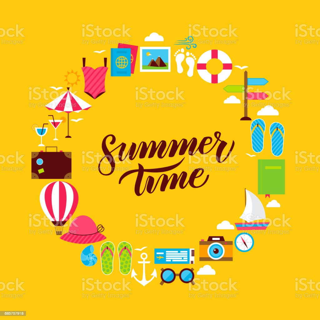 Summertime Flat Circle royalty free summertime flat circle stockvectorkunst en meer beelden van anker