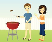 A vector illustration of a couple grilling at the barbecue outdoors.  Each person as well as the barbecue are on separate layers from the background.