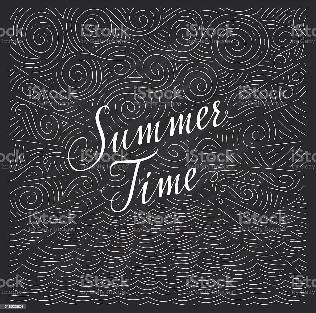 Vetores De O Verão Frase Por Escrito No Giz Bordo E Mais