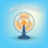 Summertime, hello summer with fan. Vector illustration flat design summer concept.
