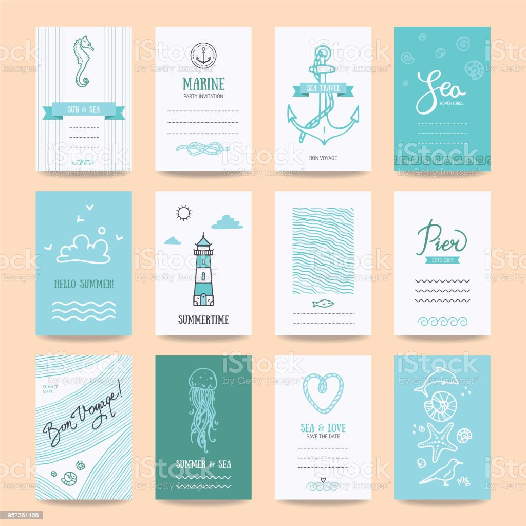Summertime Holiday Cards, Travel Posters Templates