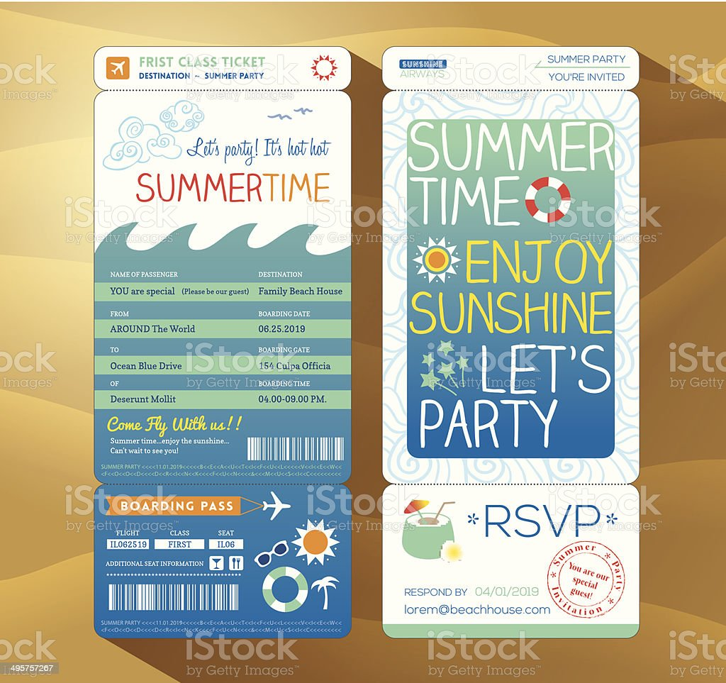 summertime holiday party boarding pass background template for s