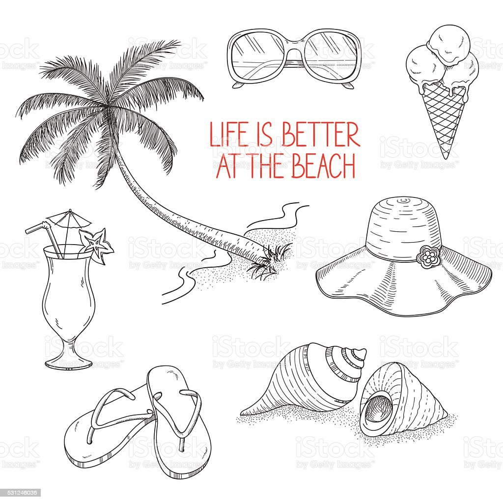 Summertime icons set vector art illustration
