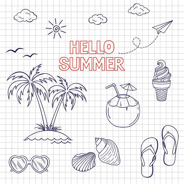 stockillustraties, clipart, cartoons en iconen met summertime icons set - slipper