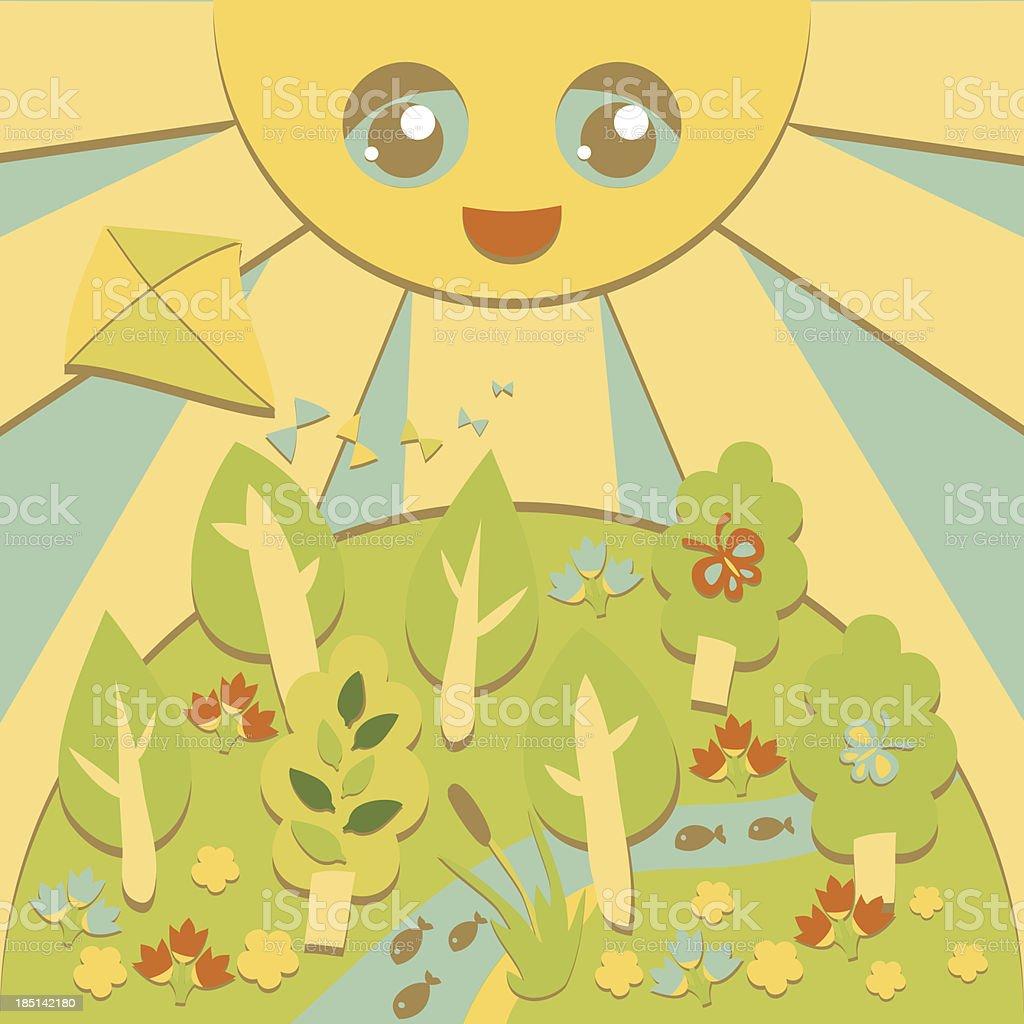 Summertime landscape royalty-free stock vector art