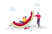 Summertime Leisure, Beach Party. Tiny Male Characters with Huge Watermelon. People Enjoying Summer Vacation Holidays, Eating, Relaxing. Overeat Man Lying on Melon Peel. Cartoon Vector Illustration