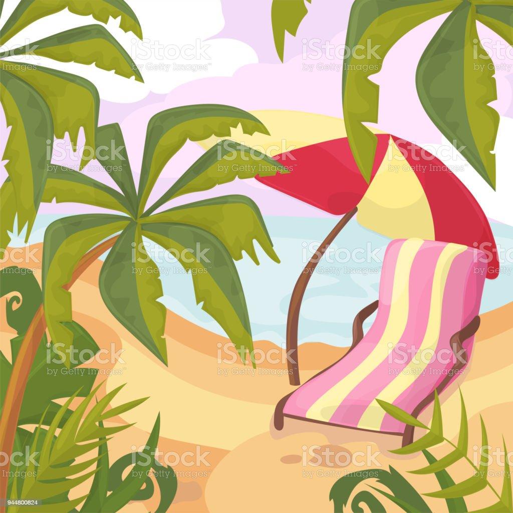Ilustración De Verano En La Playa Palmeras Y Plantas Alrededor