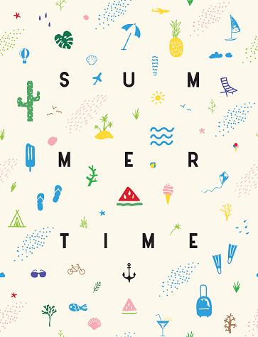 Summertime seamless pattern poster