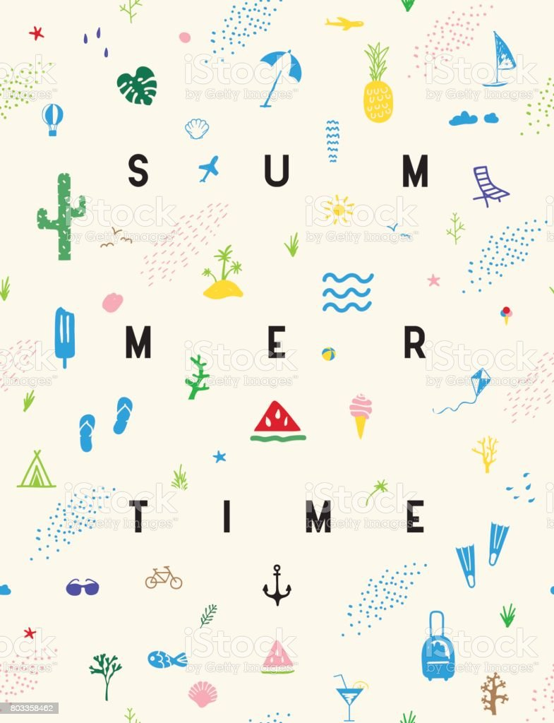 Summertime seamless pattern poster vector art illustration