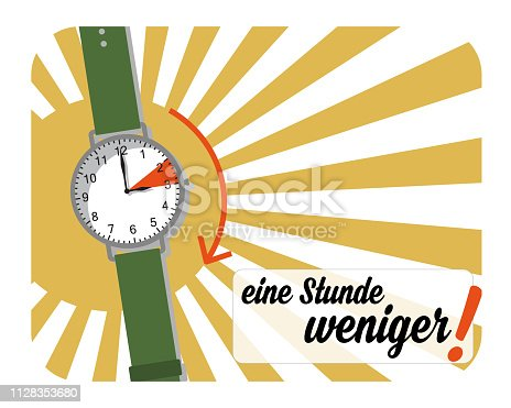istock Summertime - sleep one hour less (text in German) 1128353680