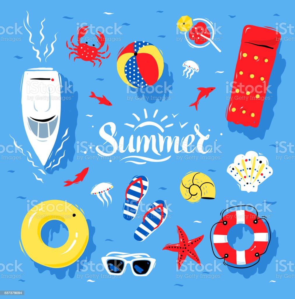 Summertime top view illustrations vector art illustration
