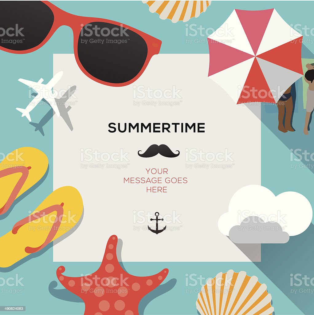 Summertime traveling template with beach summer accessories vector art illustration