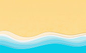 Summertime vacation background. Multi Layered papercut sea waves with 3d effect