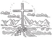 Hand-drawn vector drawing of a Summit Cross in front of a Mountain Landscape. Black-and-White sketch on a transparent background (.eps-file). Included files are EPS (v10) and Hi-Res JPG.
