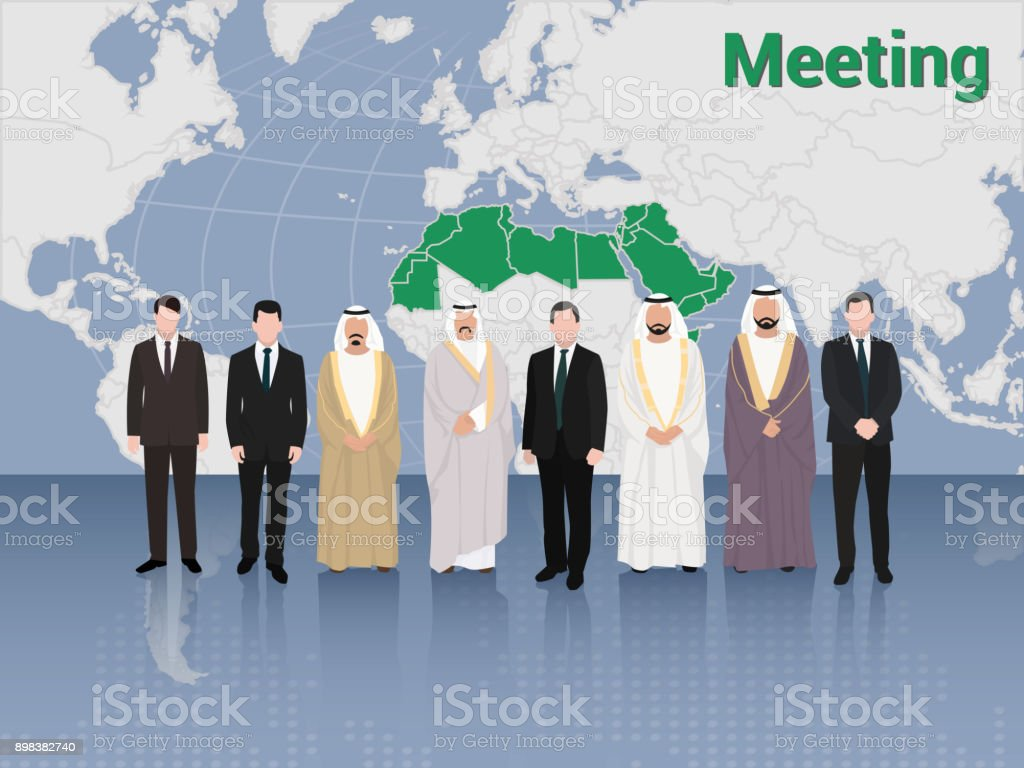Reunión en la Cumbre de hombres de negocios árabes y europeos y la política - ilustración de arte vectorial